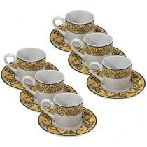 Conjunto de Café Porcelana 6 Peças - Hauskraft Doural JGXC-001