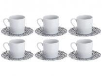 Conjunto de Café Porcelana 6 Peças - Wolff Limoges Zen-Marbre Noir