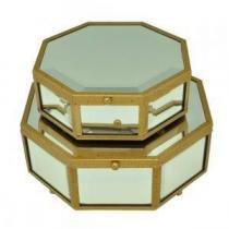 Conjunto de Caixa de Vidro Oval 2 peças - Decorafast