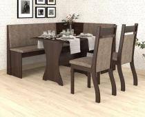 Conjunto de Canto Alemão Roma Mesa com 2 Cadeiras Jady Nogueira/Dakota - At house