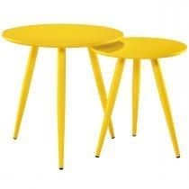 Conjunto de Duas Mesas de Centro Redonda Amarela 4006-2 - Mart - Bivolt - Mart