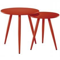 Conjunto de Duas Mesas de Centro Redonda Vermelha 4005-2 - Mart - Bivolt - Mart