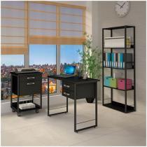 Conjunto de escritório com mesa Multiuso 2 Gavetas - + Gaveteiro com duas 2 Gavetas + Estante