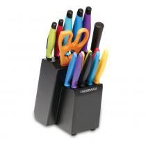 Conjunto de Facas Farberware Multicolor 16 Peças com Suporte -