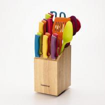 Conjunto de Facas Farberware Multicolor 18 Peças com Suporte -