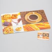 Conjunto de Jogo Americano e Porta Copos Café para 4 Pessoas - Bon Gourmet