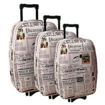 Conjunto de Malas 3 Peças Batiki Expansiva - Newspaper News