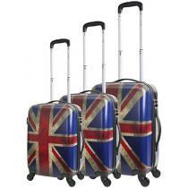 Conjunto de Malas 3 Peças Travel Max - Metropolitan Grã-Bretanha Estampado