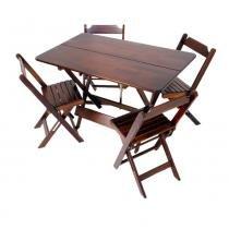 Conjunto de Mesa 1,20 x 0,70 m com 4 cadeiras na cor Imbuia - Madesil - Madesil