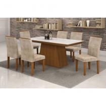 Conjunto de Mesa 1.7 com 6 Cadeiras Sevilha com Vidro Branco Nogueira e Bege - Quality