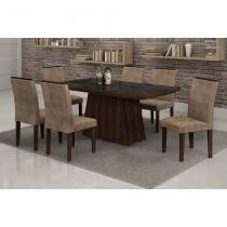 Conjunto de Mesa 1.7 com 6 Cadeiras Sevilha com Vidro Preto Malbec e Marrom - Quality