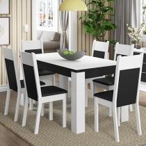 Conjunto de Mesa 6 Cadeiras Estofadas Madesa - Alícia