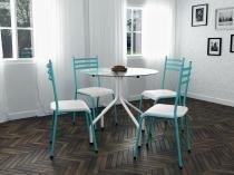 Conjunto de Mesa Aço carbono com 4 Cadeiras - New Green Moema