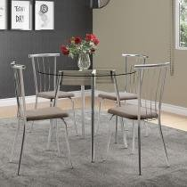 Conjunto de Mesa Aço com 4 Cadeiras Estofadas - Móveis Carraro Mel