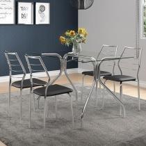 Conjunto de Mesa Aço com 4 Cadeiras - Móveis Carraro Karen