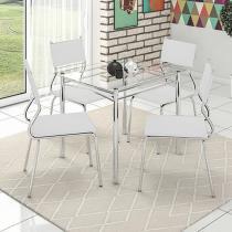 Conjunto de Mesa Aço Cromado com 4 Cadeiras - Somopar Genebra