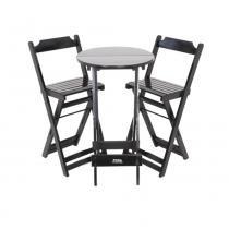 Conjunto de Mesa Bistrô com 2 cadeiras dobráveis Preto - Madesil - Madesil