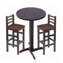 Conjunto de Mesa Bistro Fixa com 2 cadeiras Marrom - Madesil - Madesil