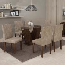 Conjunto de Mesa Classic 160 cm com 6 Cadeiras Suede Malbec e Bege - Quality