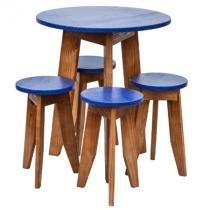 Conjunto de Mesa com 4 Banquetas Colors de Madeira Azul - Ms design
