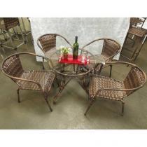Conjunto de Mesa com 4 Cadeiras Boteco Bar Vidro Junco Rattan - Jardina