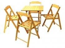 Conjunto de Mesa com 4 Cadeiras Dobráveis  - Madeira Maciça Beer Tramontina
