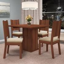 Conjunto de Mesa com 4 Cadeiras Estofadas - Dj Móveis Stella