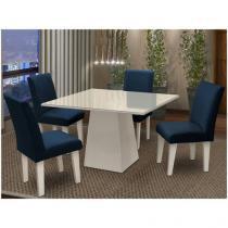 Conjunto de Mesa com 4 Cadeiras Estofadas - Dobuê Movelaria Florença