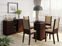 Conjunto de Mesa com 4 Cadeiras Estofadas - Madesa Jane