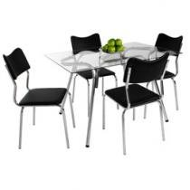 Conjunto de Mesa com 4 Cadeiras Estofadas - Somopar Línea New