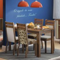 Conjunto de Mesa com 4 Cadeiras Leila Rustic Suéde Pérola. - Madesa