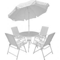 Conjunto de Mesa com 4 Cadeiras Malibu - e Guarda-Sol Articulável - Mor