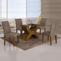 Conjunto de Mesa com 4 Cadeiras Olímpia II Suede Amassado Canela e Capuccino - Leifer