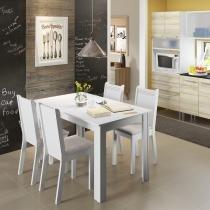 Conjunto de Mesa com 4 Cadeiras Rosie Madesa Branco/Pérola -