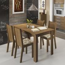 Conjunto de Mesa com 4 Cadeiras Rosie Rustic e Lirio Bege - Madesa