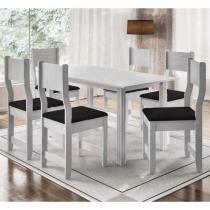 Conjunto de Mesa com 6 Cadeiras Dallas Indekes Branco -