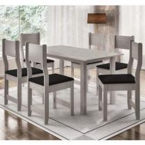 Conjunto de Mesa com 6 Cadeiras Dallas Indekes Salina/Preto -