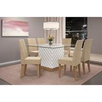 Conjunto de Mesa com 6 Cadeiras Estofadas - Dj móveis Daniella