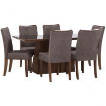 Conjunto de Mesa com 6 Cadeiras Estofadas - DJ Móveis Itália