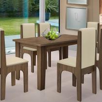 Conjunto de Mesa com 6 Cadeiras Estofadas - Dobuê Movelaria Miami