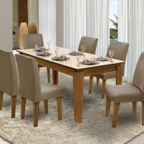 Conjunto de Mesa com 6 Cadeiras Estofadas - Dobuê Movelaria Siena