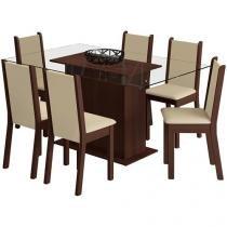 Conjunto de Mesa com 6 Cadeiras Estofadas Madesa - Aline