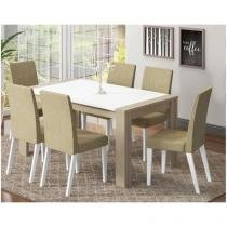 Conjunto de Mesa com 6 Cadeiras Estofadas - Madesa Brenda