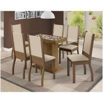 Conjunto de Mesa com 6 Cadeiras Estofadas - Madesa Marília