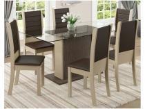 Conjunto de Mesa com 6 Cadeiras Estofadas - Madesa Modena