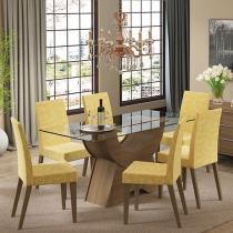Conjunto de Mesa com 6 Cadeiras Estofadas - Madesa Sinuosa