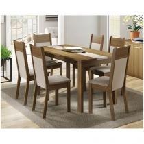 Conjunto de Mesa com 6 Cadeiras Estofadas - Madesa Veneza