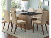 Conjunto de Mesa com 6 Cadeiras Estofadas - Madesa Viena