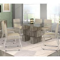Conjunto de Mesa com 6 Cadeiras Estofadas - Mobisul Leda