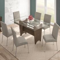 Conjunto de Mesa com 6 Cadeiras Estofadas - Mobisul Munic